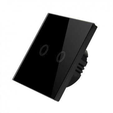 Întrerupător dublu touch screen negru Wi-Fi