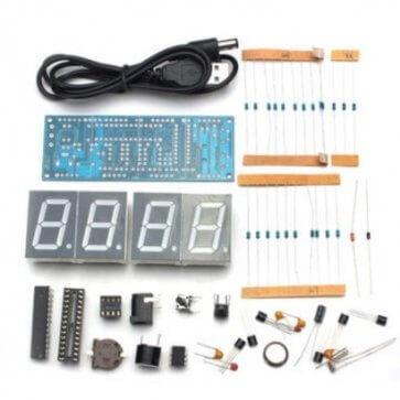 Kit electronic ceas cu termometru DIY ALB