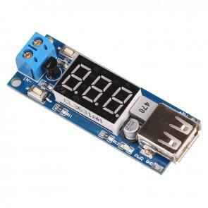 DC 4.5-40V - 5V 2A USB töltő DC-DC voltméter modul
